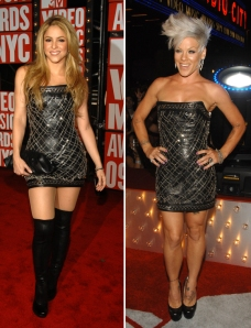 Shakira and Pink at the 2009 MTV Video Music Awards. Worn the same Fall 2009 Balmain Ready-to-Wear Dress