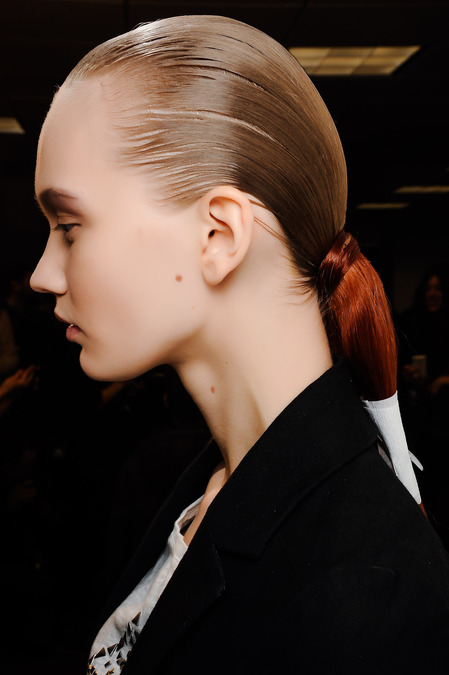 Side Ponytail and Makeup at Alexander Wang Fall 2013