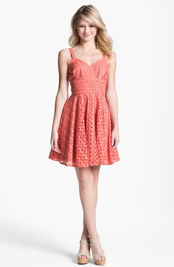 BB Dakota 'Tibet' Eyelet Fit & Flare Dress-$88.00