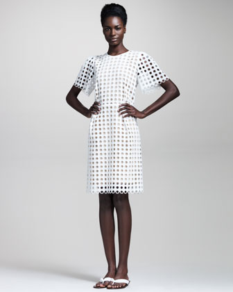 Chloe Short Sleeve Allover Eyelet Dress- $2,395.00