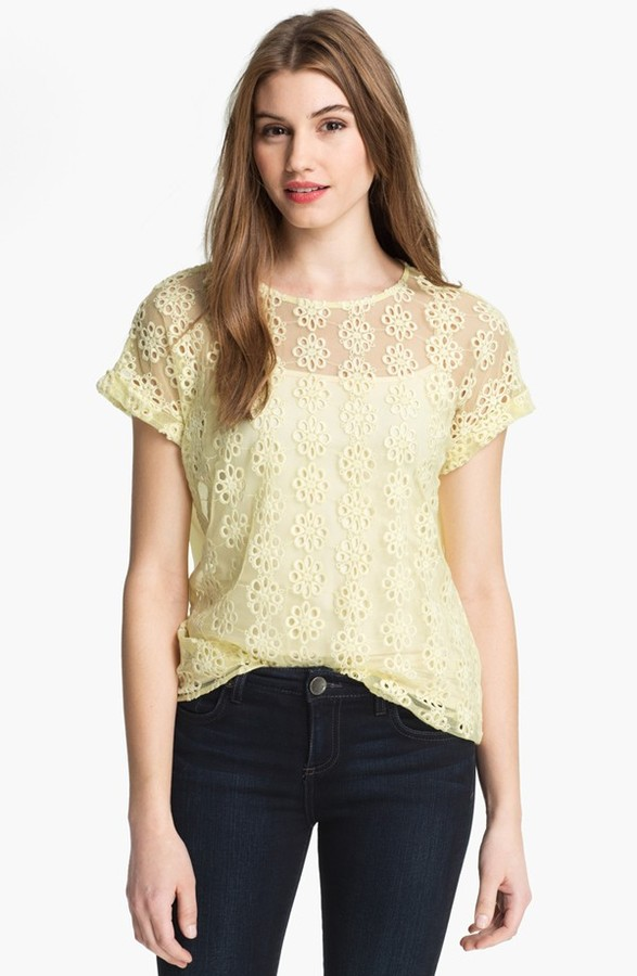 Matty M Flower Mesh Top