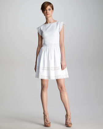 RED Valentino Pique-Knit Sangallo Eyelet Dress-$695.00