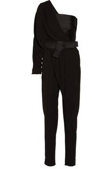 Lanvin One-Shoulder Draped Silk-Crepe and Duchese Satin Jumpsuit - $4,990