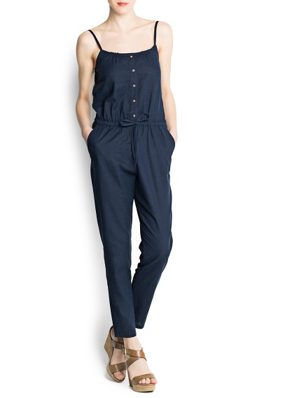 Mango Linen Cotton-Blend Long Jumpsuit-$59.99