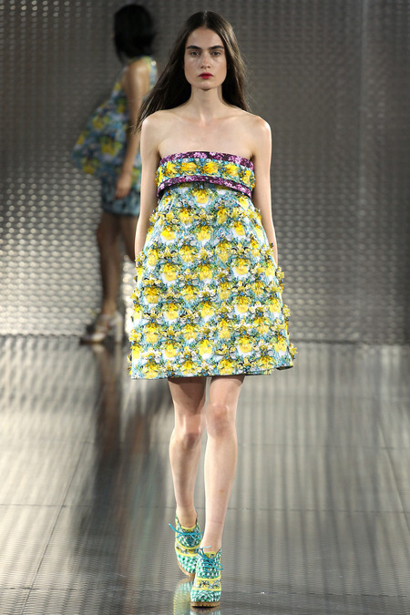 Yellow Bird, Mary Katrantzou, Spring 2014, Look 22  Photo: Marcus Tondo/Indigitalimages.com