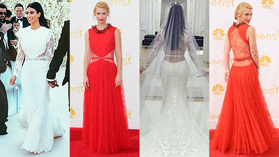 Claire Danes and Kim Kardashian both in Givenchy Haute Couture Photo: Kim Kardashian/Instagram, David Livingston/Getty Images and Jason LaVeris/FilmMagic found on tv.yahoo.com