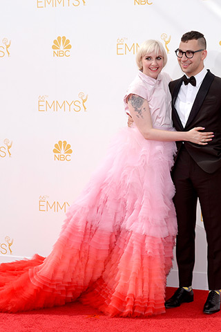 Lena Dunham with boyfriend Jack Antonoff Dress by Giambattista Valli Haute Couture Photo: Getty Images found on www.style.com