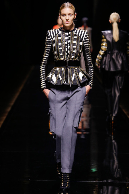Balmain, Fall/Winter 2014, Look 11 Model: Anja Rubik Photo: Monica Feudi/FeudiGuaineri.com found on www.style.com