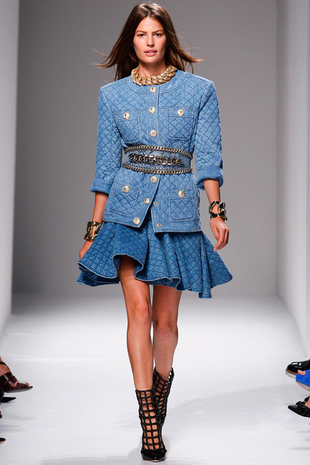 Balmain, Spring/Summer 2014, Look 11 Model: Cameron Russell Photo: Monica Feudi/FeudiGuaineri.com found on www.style.com