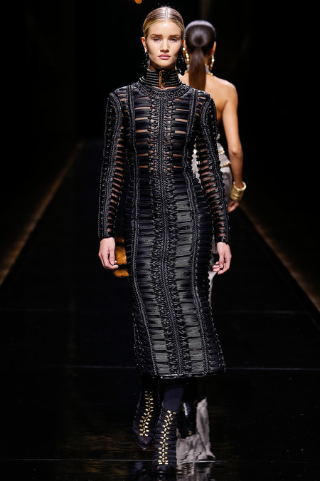 Balmain, Fall/Winter 2014, Look 45 Model: Rosie Huntington-Whiteley Photo: Monica Feudi/FeudiGuaineri.com found on www.style.com