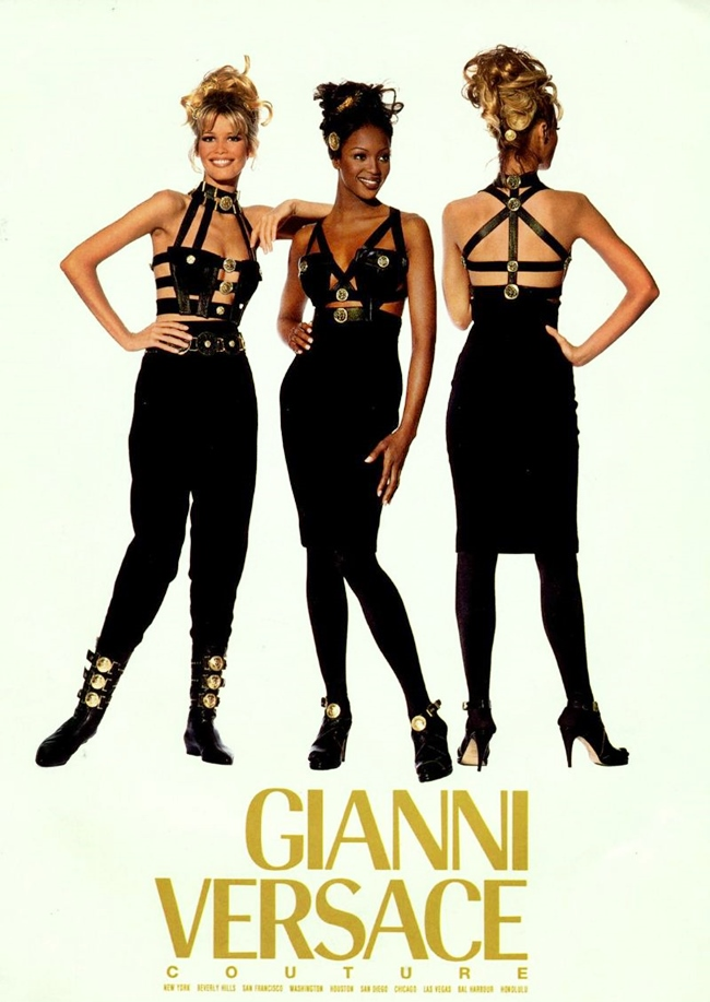 Gianni Versace Fall 1992 Couture Collection Campaign Found on: http://stylishstarlets.blogspot.com/2013/07/retro-style-versace-1992.html