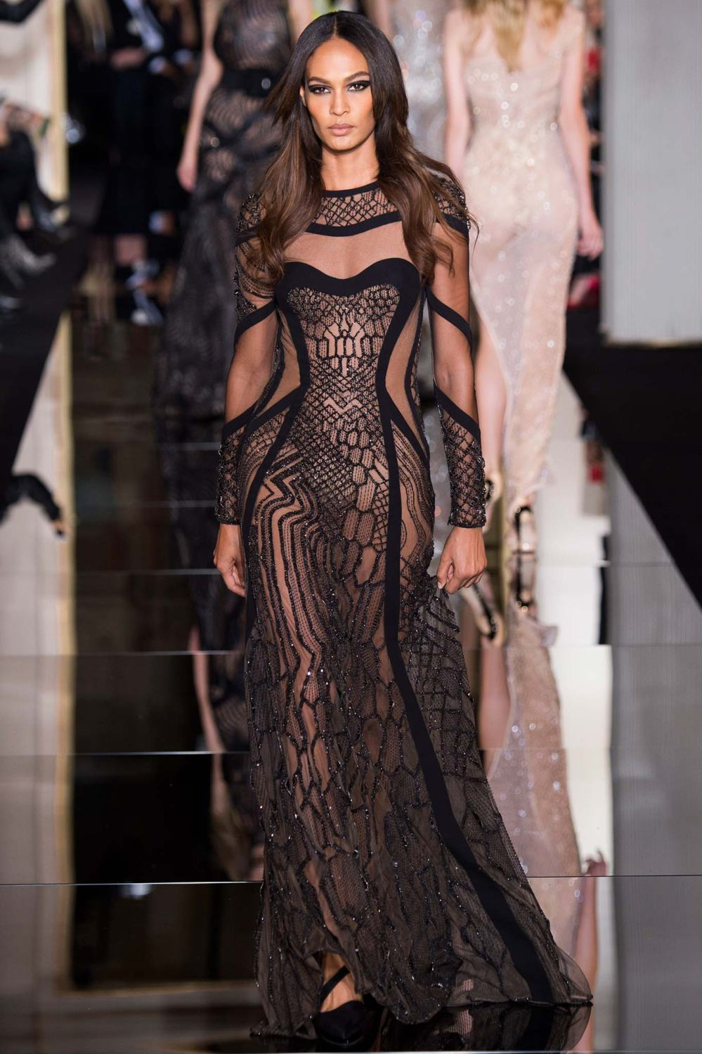 Atelier Versace, Spring/Summer 2015 Look 34 Model: Joan Smalls  Photo: Kim Weston Arnold/Indigitalimages.com